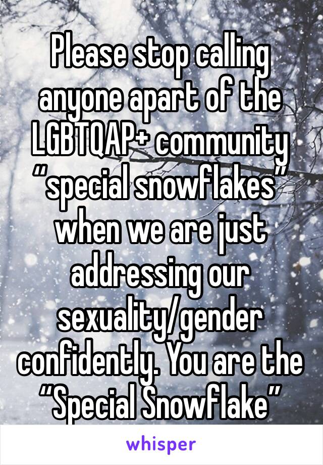 "Please stop calling anyone apart of the LGBTQAP+ community ""special snowflakes"" when we are just addressing our sexuality/gender confidently. You are the  ""Special Snowflake"""