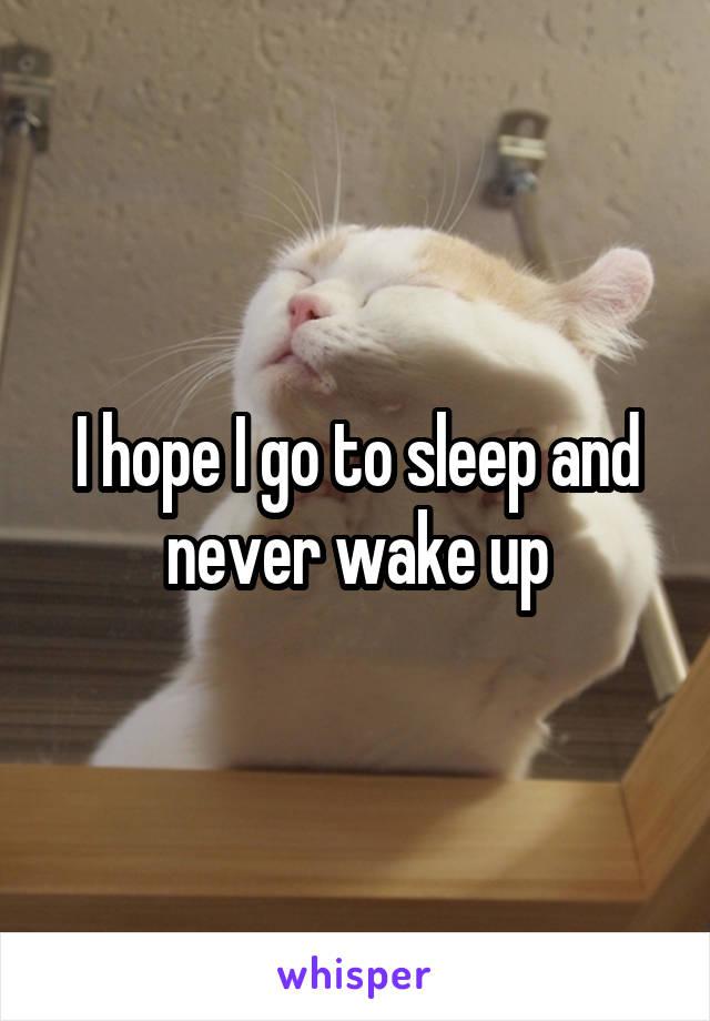 I hope I go to sleep and never wake up
