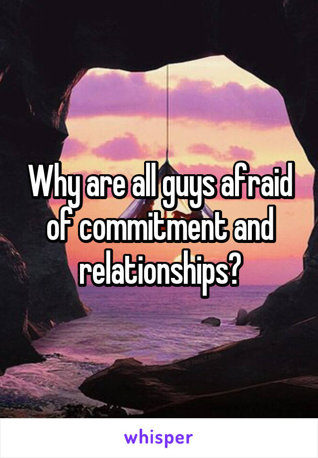 Why are all guys afraid of commitment and relationships?