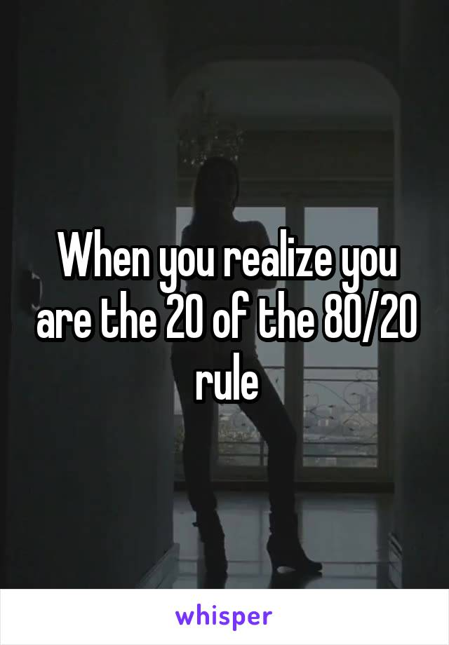 When you realize you are the 20 of the 80/20 rule