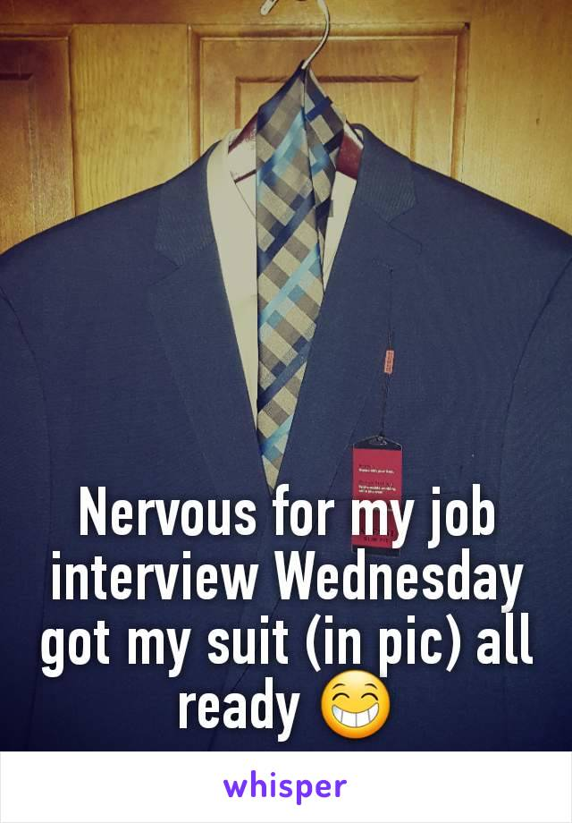 Nervous for my job interview Wednesday got my suit (in pic) all ready 😁