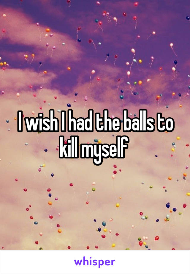 I wish I had the balls to kill myself