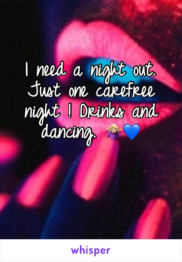 I need a night out. Just one carefree night ! Drinks and dancing. 🤷🏼♀️💙