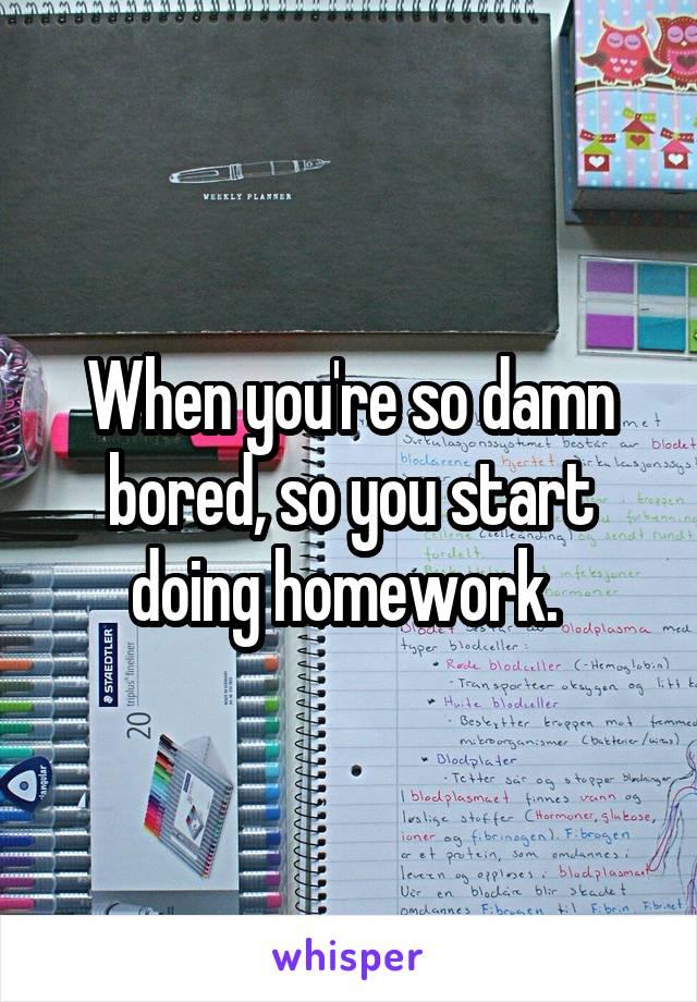 When you're so damn bored, so you start doing homework.