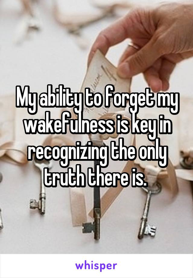 My ability to forget my wakefulness is key in recognizing the only truth there is.