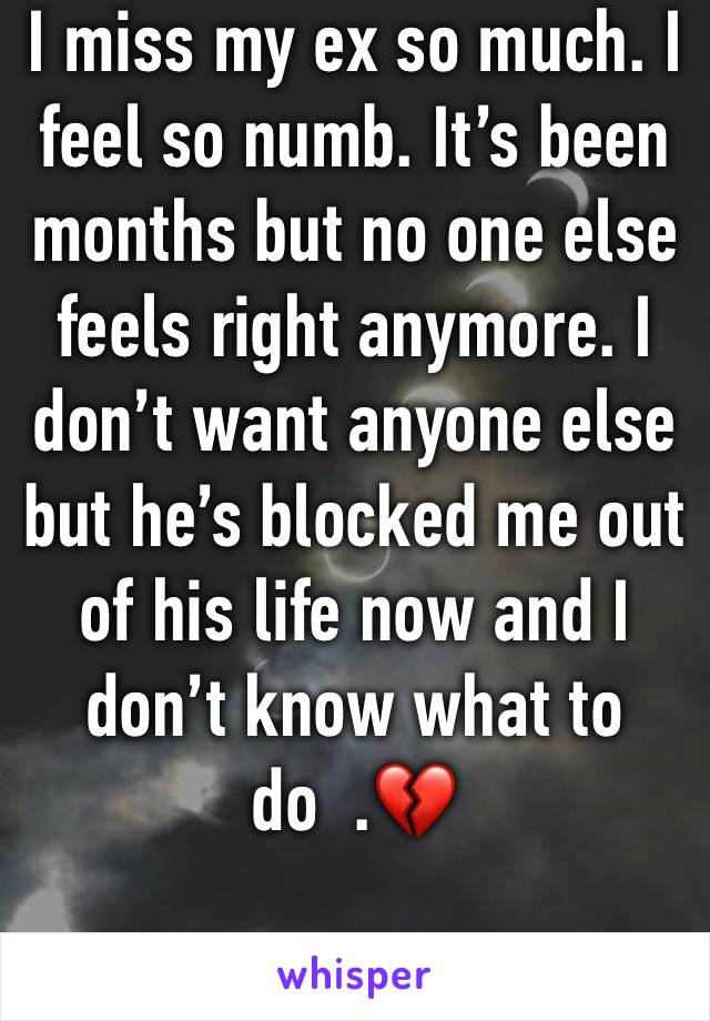 I miss my ex so much. I feel so numb. It's been months but no one else feels right anymore. I don't want anyone else but he's blocked me out of his life now and I don't know what to do  .💔