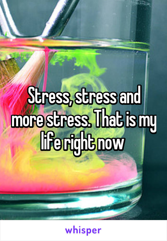 Stress, stress and more stress. That is my life right now