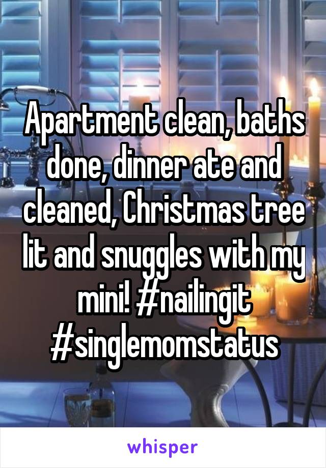 Apartment clean, baths done, dinner ate and cleaned, Christmas tree lit and snuggles with my mini! #nailingit #singlemomstatus