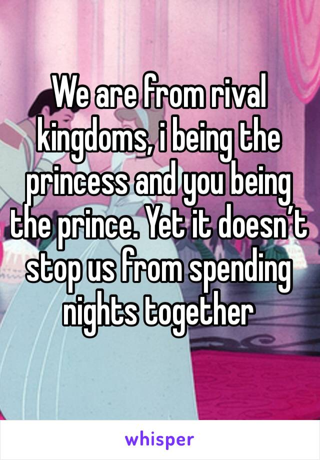 We are from rival kingdoms, i being the princess and you being the prince. Yet it doesn't stop us from spending nights together