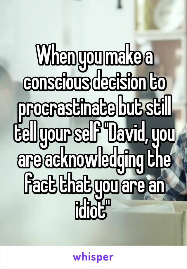 """When you make a conscious decision to procrastinate but still tell your self """"David, you are acknowledging the fact that you are an idiot"""""""