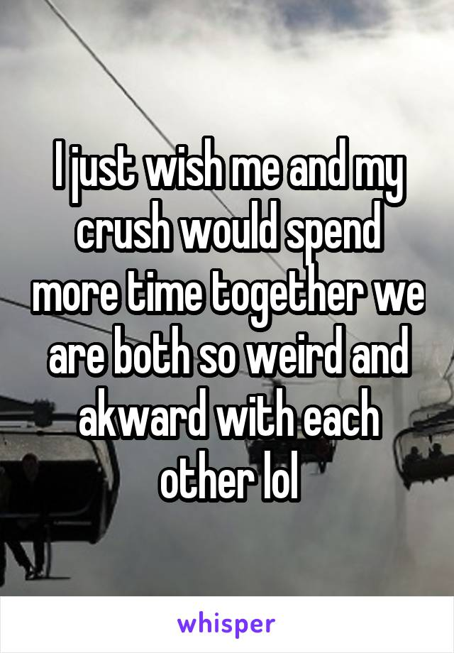 I just wish me and my crush would spend more time together we are both so weird and akward with each other lol