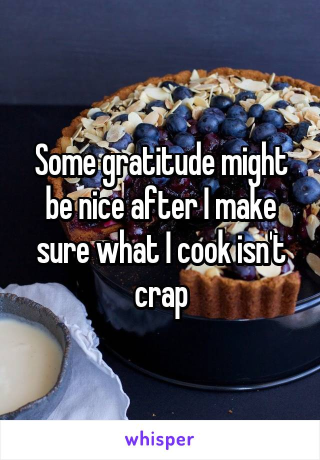 Some gratitude might be nice after I make sure what I cook isn't crap