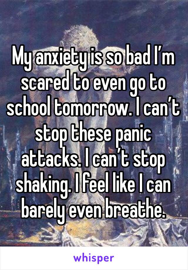 My anxiety is so bad I'm scared to even go to school tomorrow. I can't stop these panic attacks. I can't stop shaking. I feel like I can barely even breathe.