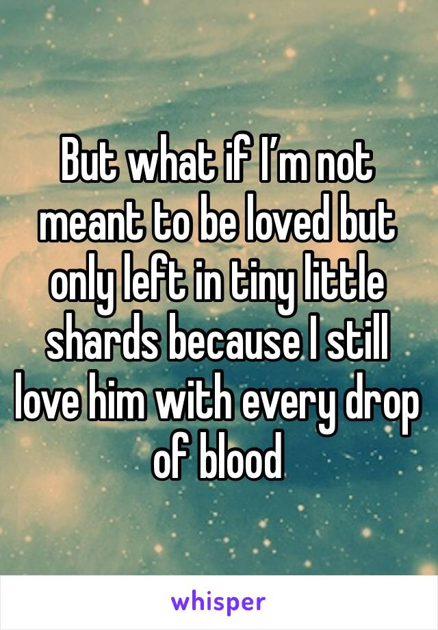But what if I'm not meant to be loved but only left in tiny little shards because I still love him with every drop of blood