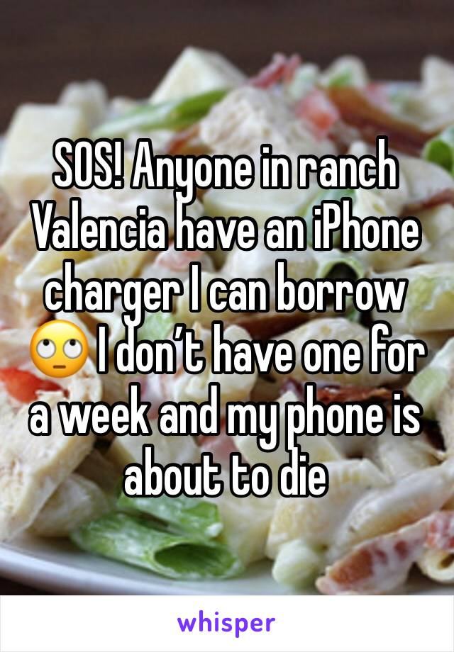 SOS! Anyone in ranch Valencia have an iPhone charger I can borrow 🙄 I don't have one for a week and my phone is about to die