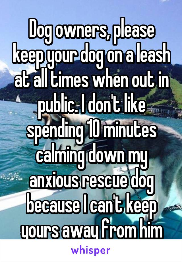 Dog owners, please keep your dog on a leash at all times when out in public. I don't like spending 10 minutes calming down my anxious rescue dog because I can't keep yours away from him