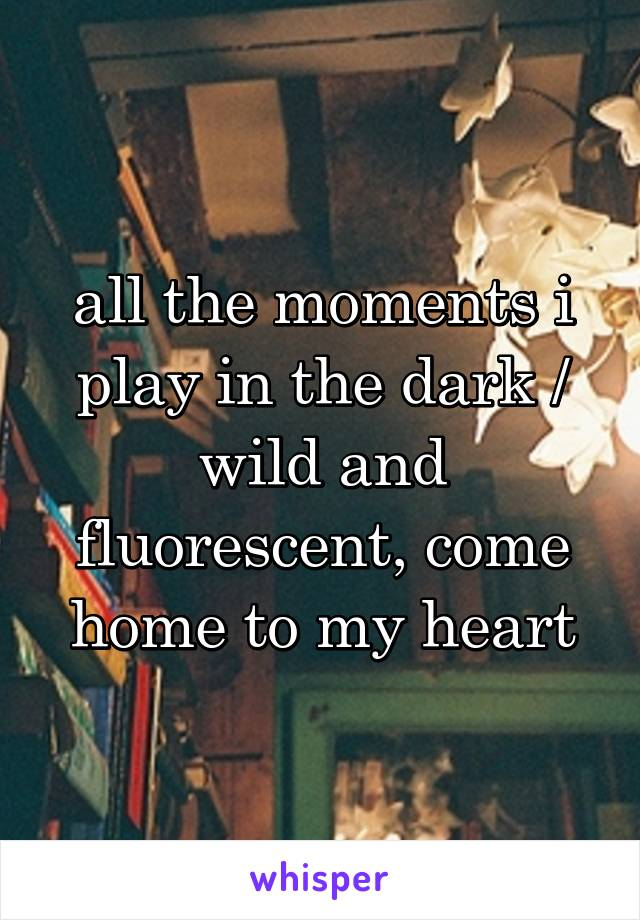 all the moments i play in the dark / wild and fluorescent, come home to my heart