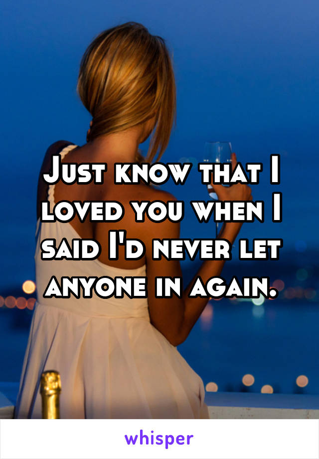 Just know that I loved you when I said I'd never let anyone in again.