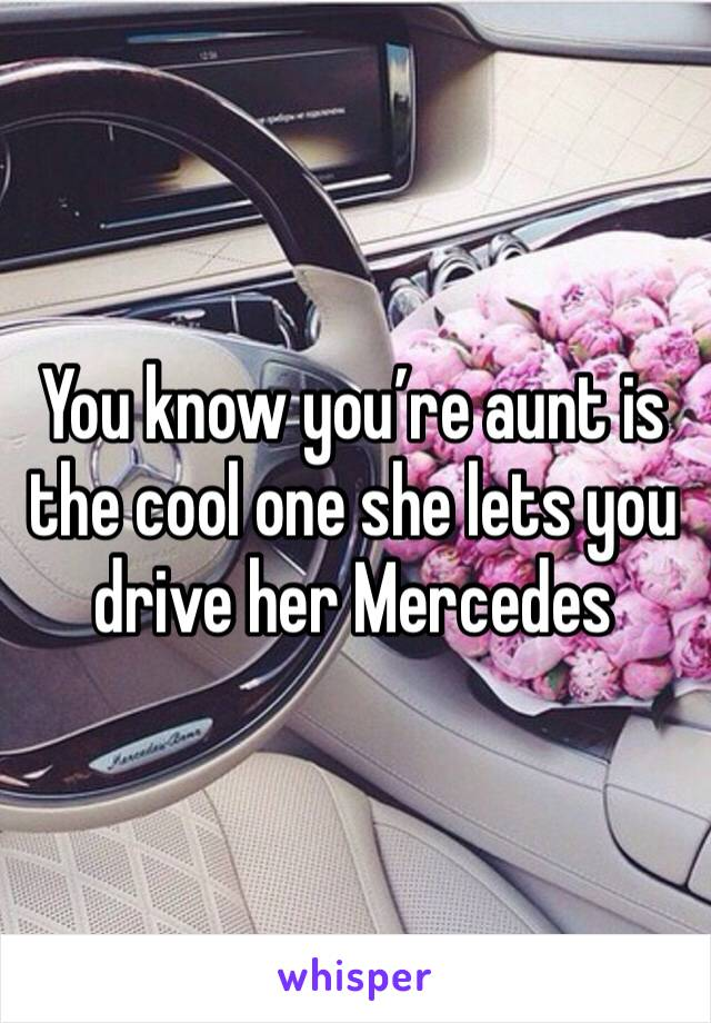 You know you're aunt is the cool one she lets you drive her Mercedes