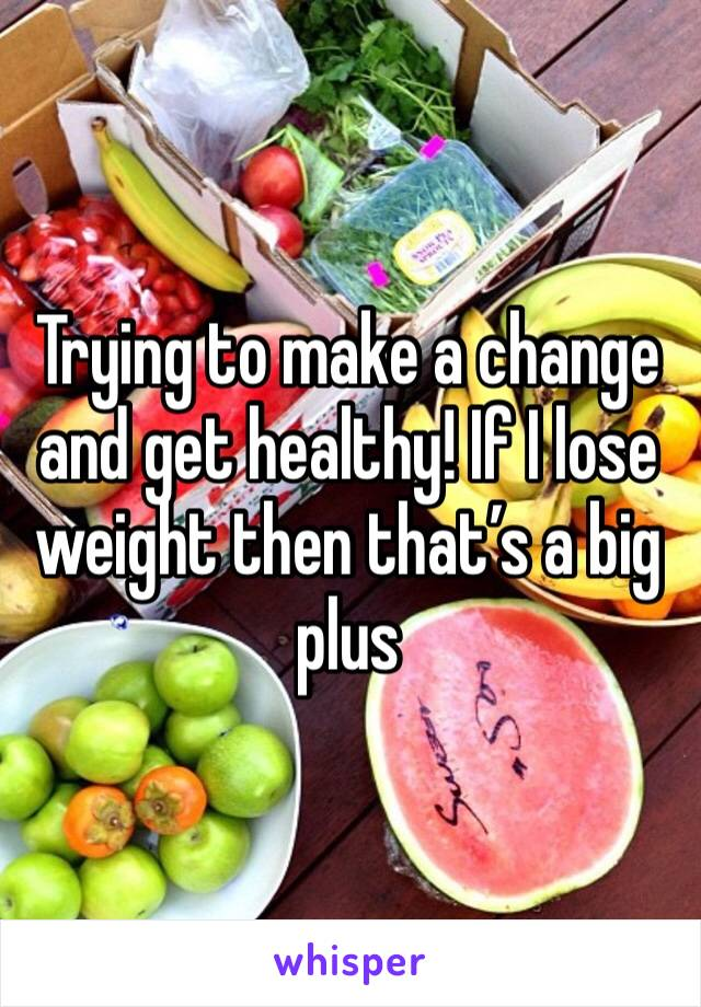 Trying to make a change and get healthy! If I lose weight then that's a big plus