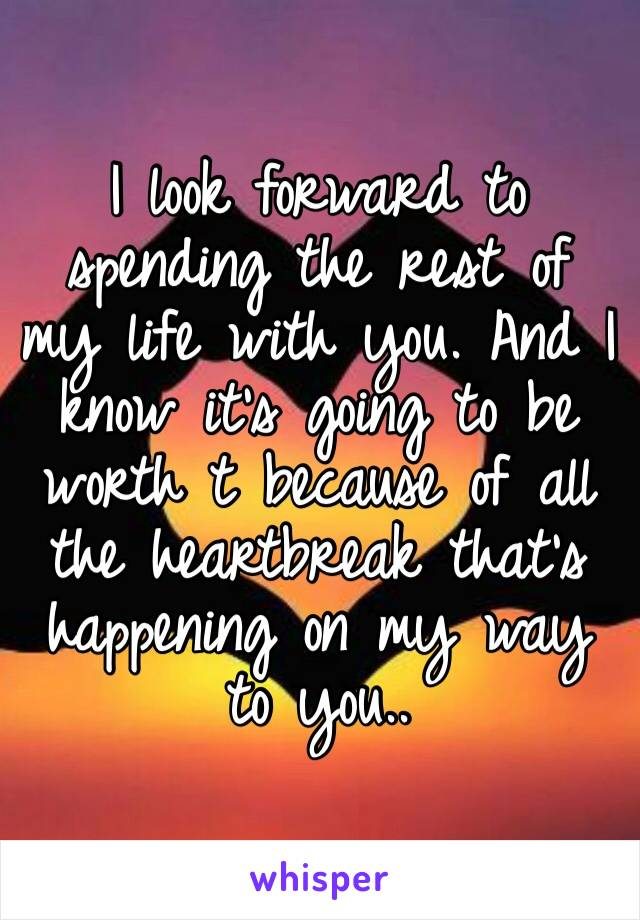I look forward to spending the rest of my life with you. And I know it's going to be worth t because of all the heartbreak that's happening on my way to you..