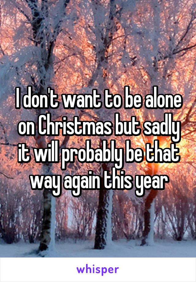 I don't want to be alone on Christmas but sadly it will probably be that way again this year