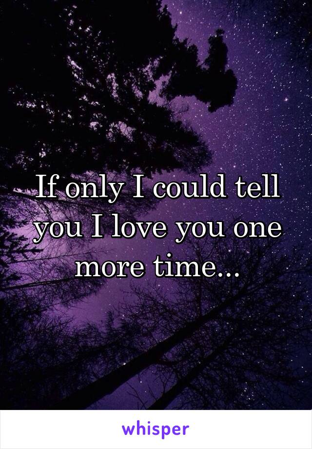 If only I could tell you I love you one more time...