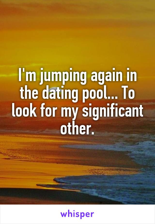 I'm jumping again in the dating pool... To look for my significant other.