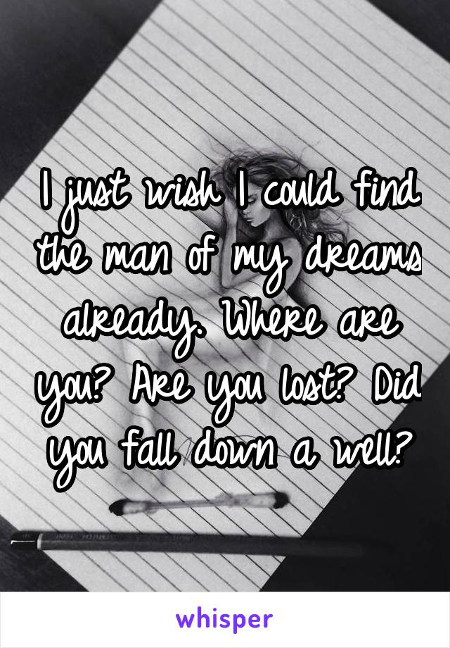 I just wish I could find the man of my dreams already. Where are you? Are you lost? Did you fall down a well?