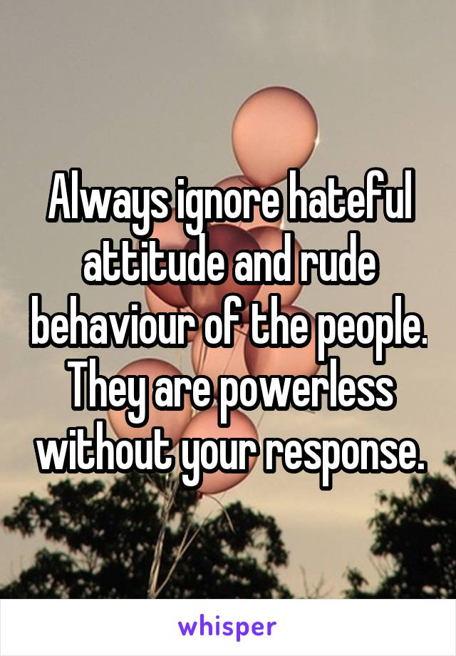 Always ignore hateful attitude and rude behaviour of the people. They are powerless without your response.