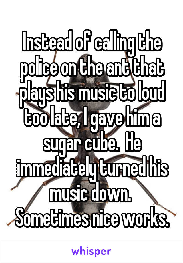 Instead of calling the police on the ant that plays his music to loud too late, I gave him a sugar cube.  He immediately turned his music down.  Sometimes nice works.