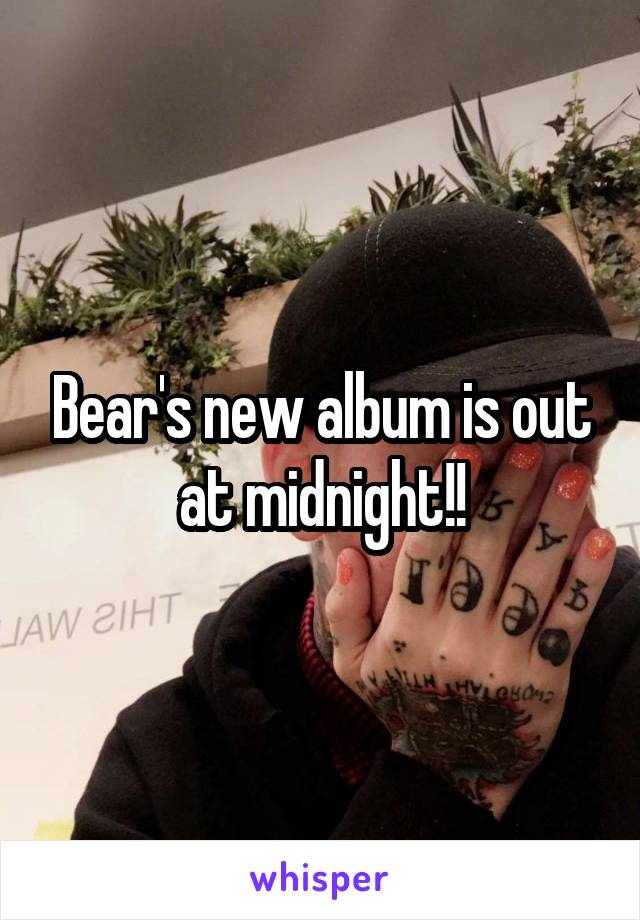 Bear's new album is out at midnight!!