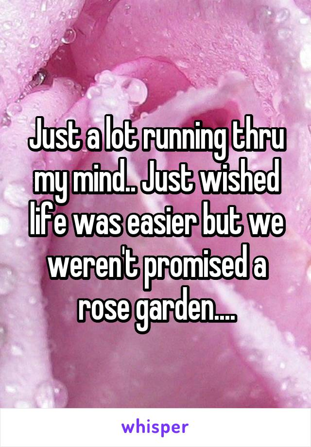 Just a lot running thru my mind.. Just wished life was easier but we weren't promised a rose garden....