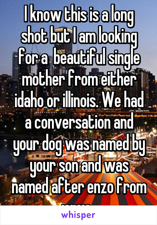 I know this is a long shot but I am looking for a  beautiful single mother from either idaho or illinois. We had a conversation and your dog was named by your son and was named after enzo from wwe.