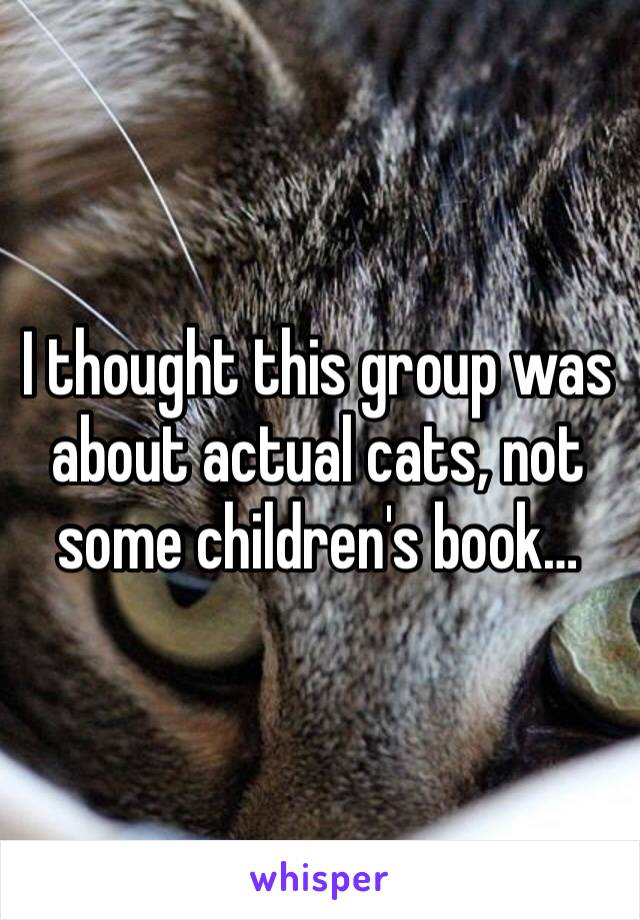 I thought this group was about actual cats, not some children's book…