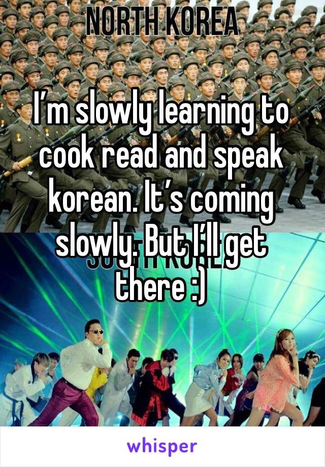 I'm slowly learning to cook read and speak korean. It's coming slowly. But I'll get there :)