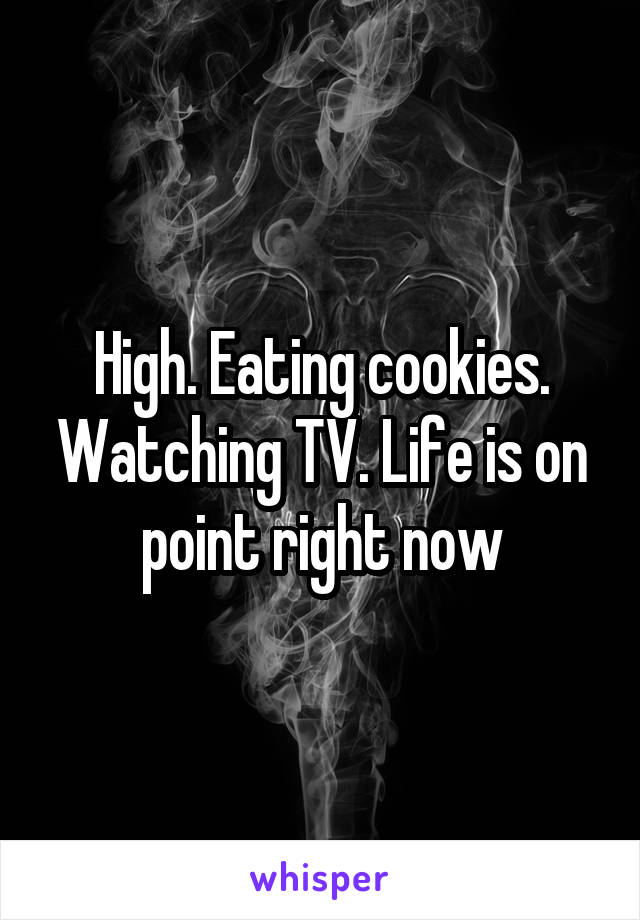 High. Eating cookies. Watching TV. Life is on point right now