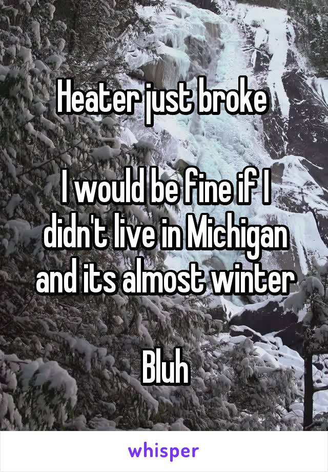 Heater just broke   I would be fine if I didn't live in Michigan and its almost winter  Bluh