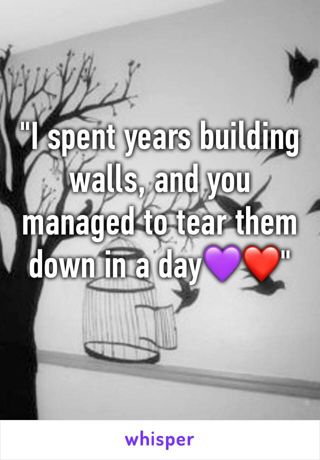 """""""I spent years building walls, and you managed to tear them down in a day💜❤️"""""""