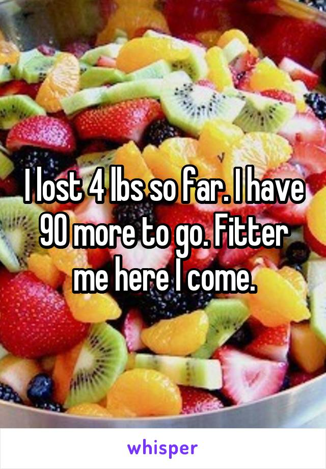 I lost 4 lbs so far. I have 90 more to go. Fitter me here I come.