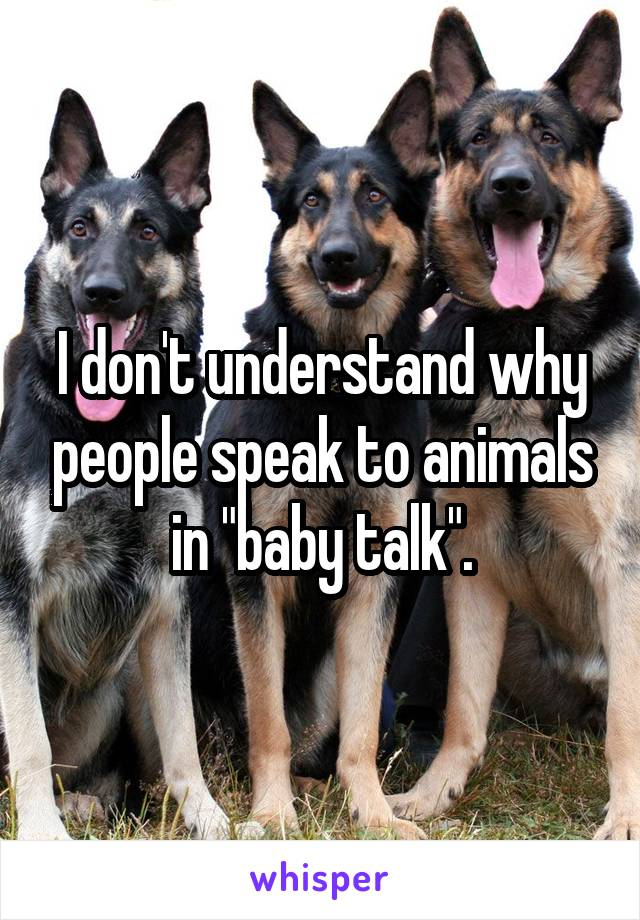 "I don't understand why people speak to animals in ""baby talk""."