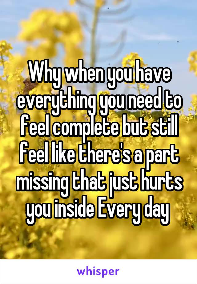 Why when you have everything you need to feel complete but still feel like there's a part missing that just hurts you inside Every day