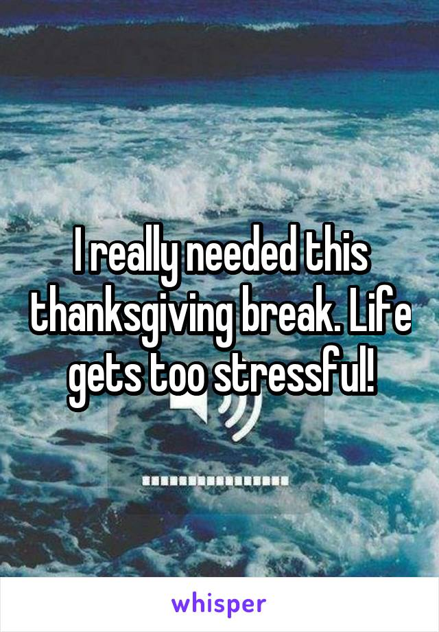 I really needed this thanksgiving break. Life gets too stressful!