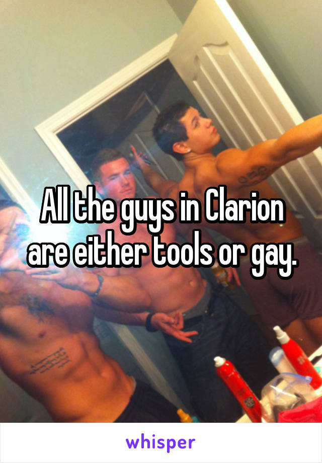 All the guys in Clarion are either tools or gay.