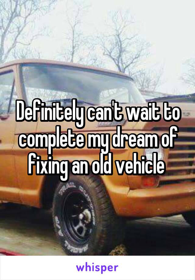 Definitely can't wait to complete my dream of fixing an old vehicle
