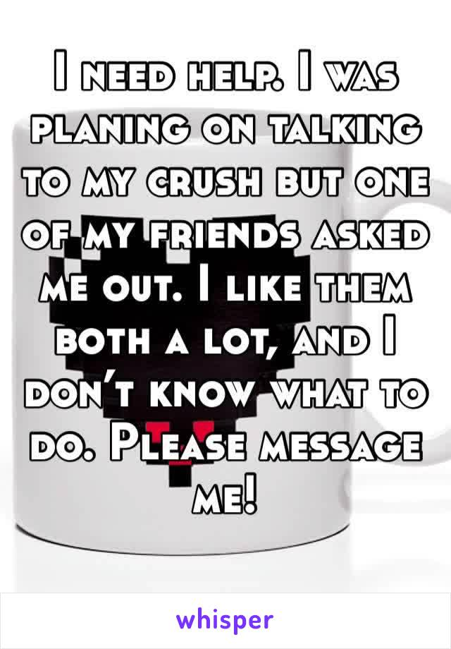 I need help. I was planing on talking to my crush but one of my friends asked me out. I like them both a lot, and I don't know what to do. Please message me!