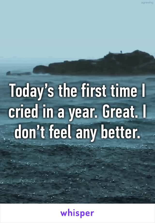Today's the first time I cried in a year. Great. I don't feel any better.
