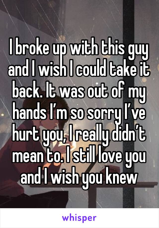 I broke up with this guy and I wish I could take it back. It was out of my hands I'm so sorry I've hurt you, I really didn't mean to. I still love you and I wish you knew