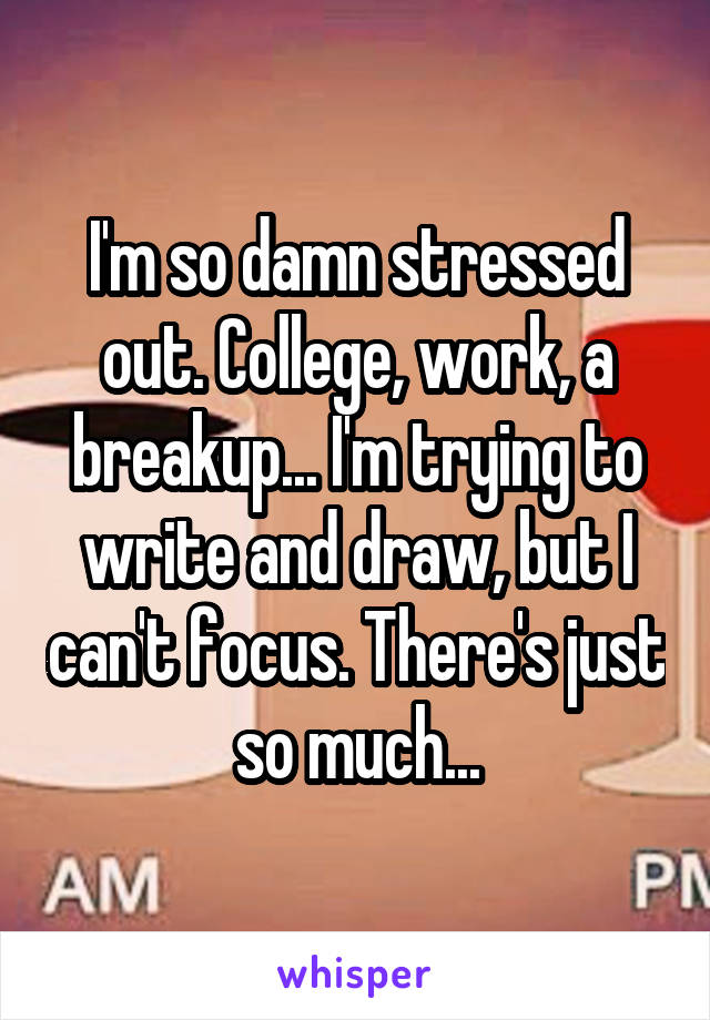 I'm so damn stressed out. College, work, a breakup... I'm trying to write and draw, but I can't focus. There's just so much...