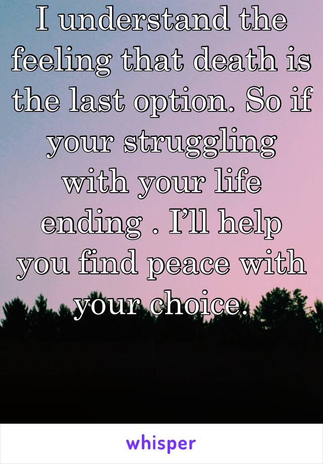I understand the feeling that death is the last option. So if your struggling with your life ending . I'll help you find peace with your choice.